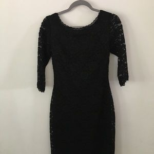 Laundry dress in black with stretchy lace sleeves